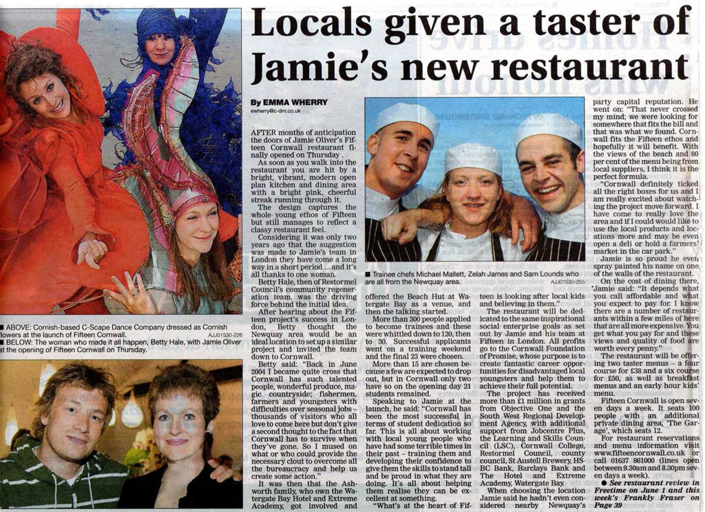 Cornish Guardian article 25th May 2006 Betty Hale with Jamie Oliver open new Fifteen Restaurant