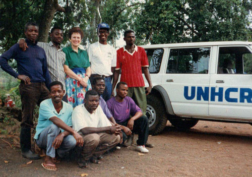 Betty with some of the base-camp staff in Goma during the Rwandan crisis 1993