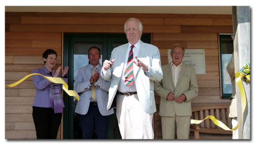 Sir Tim Rice opens the new pavilion for the Grampound Road Cricket Club